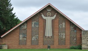 Street view of the mosaic at St. Peter Lutheran Church
