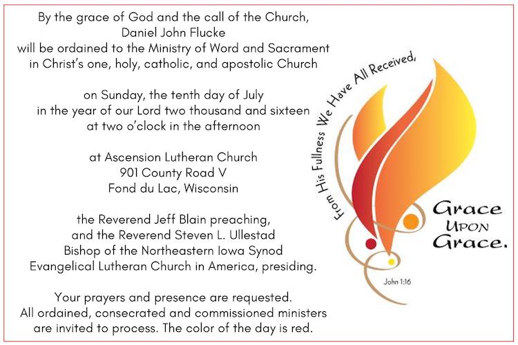 Daniel Flucke Ordination Announcement