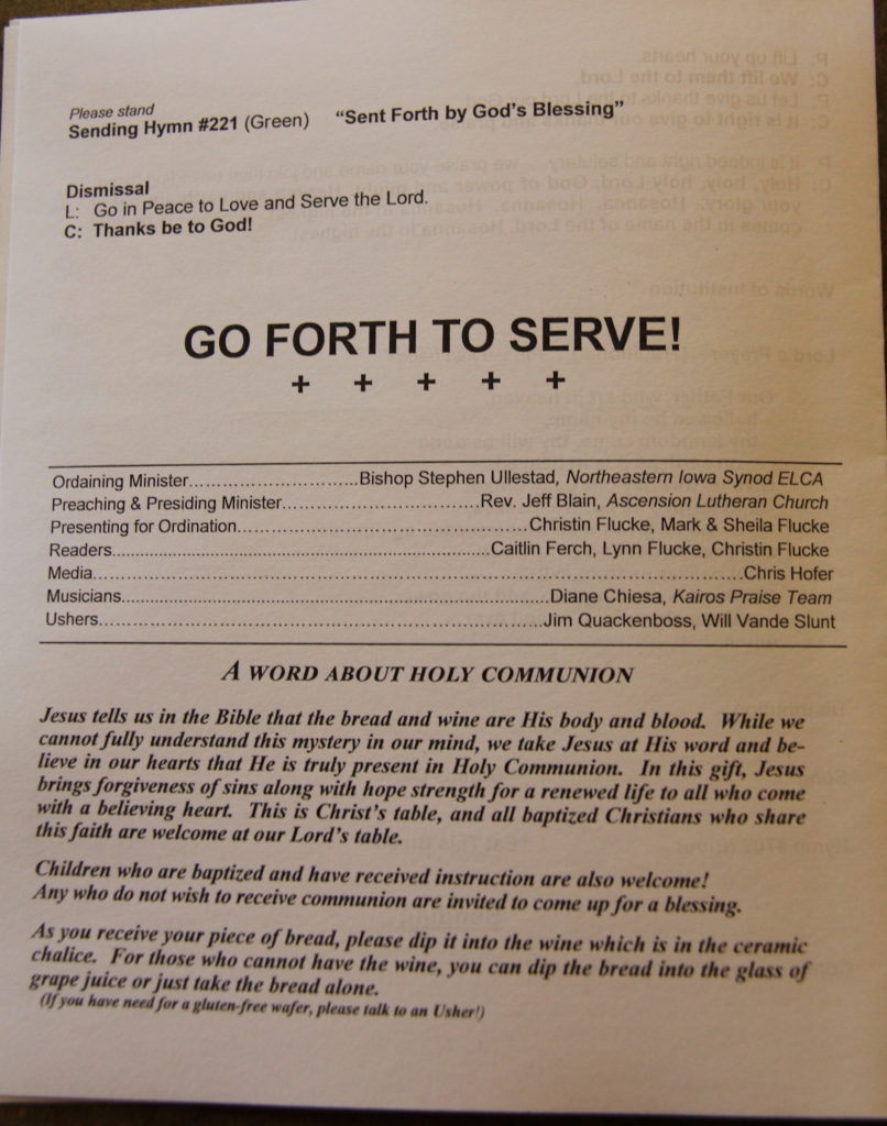 Flucke Ordination Bulletin 5